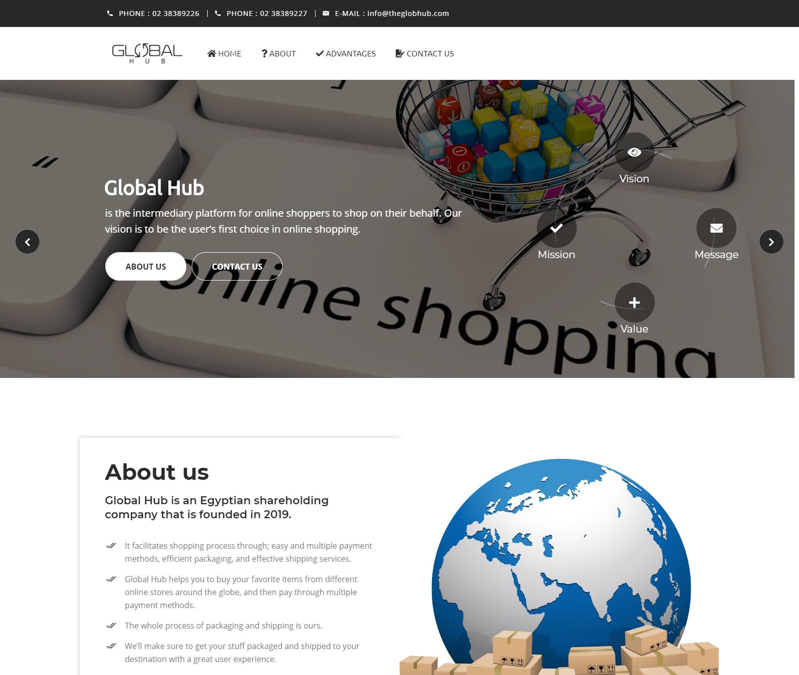 The Global Hub - Landing Page