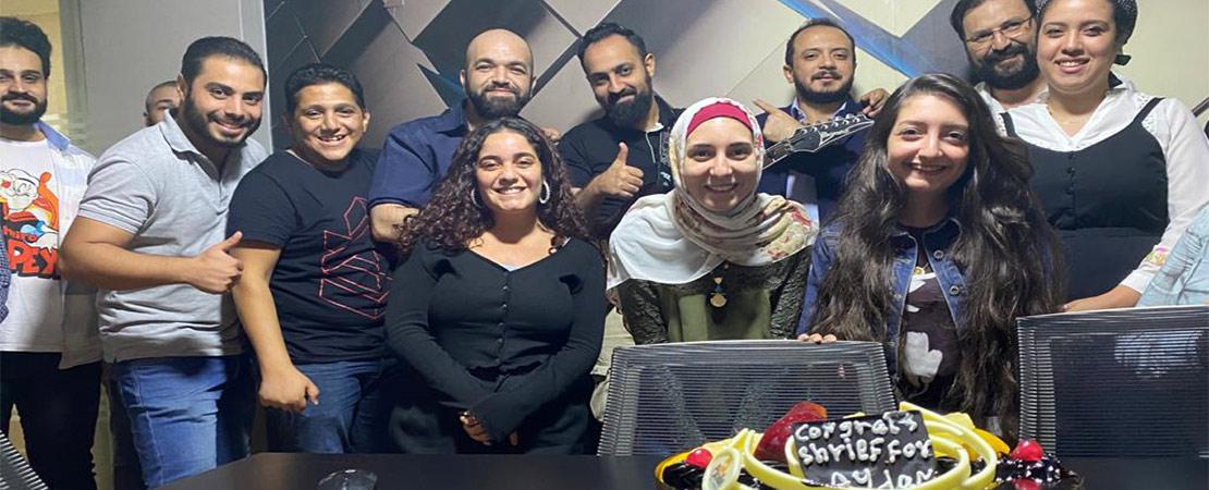 Celebrating our musician Sherif Salem's son's birth.